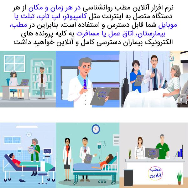 نرم افزار آنلاین مطب و کلینیک روانشناسی در هر زمان و در هر مکان برای شما قابل دسترس و قابل استفاده خواهد بود