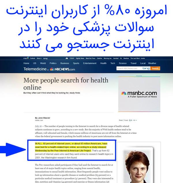%80 از کاربران اینترنت سوالات پزشکی خود را در اینترنت جستجو می کنند