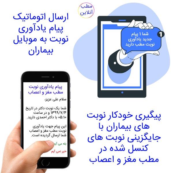 ارسال اتوماتیک پیام یادآوری نوبت به موبایل بیماران + پیگیری خودکار نوبت های بیماران + جایگزینی نوبت های کنسل شده مطب مغز و اعصاب